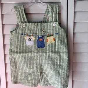 Reversible Plaid Seersucker Overalls